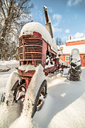 Farmall Red Posters - Vintage red Farmall Tractor in the Snow Poster by Edward Fielding