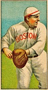 Player Photo Posters - Vintage Red Sox Poster by Benjamin Yeager