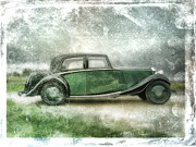 Wheels Digital Art Prints - Vintage Rolls Royce Print by David Ridley