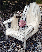 Vintage Chair Prints - Vintage Romantic Shabby Chic Adirondac Chair Print by Kathy Fornal