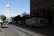 Trollies Photos - Vintage San Francisco Street Car at The Ferry Building on The Embarcadero - 5D20740 by Wingsdomain Art and Photography