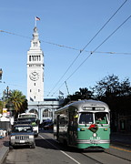 Trollies Photos - Vintage San Francisco Street Car at The Ferry Building on The Embarcadero - 5D20749 by Wingsdomain Art and Photography