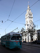 Trollies Photos - Vintage San Francisco Street Car at The Ferry Building on The Embarcadero - 5D20761 by Wingsdomain Art and Photography