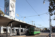 Bay Bridge Photos - Vintage San Francisco Street Car at The Ferry Building on The Embarcadero - 5D20781 by Wingsdomain Art and Photography