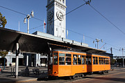 Bay Bridge Photos - Vintage San Francisco Street Car at The Ferry Building on The Embarcadero - 5D20800 by Wingsdomain Art and Photography