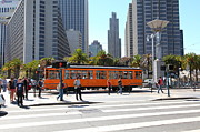 Plazas Posters - Vintage San Francisco Street Car on The Embarcadero 5D25384 Poster by Wingsdomain Art and Photography