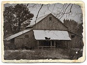 Old Barns Mixed Media Framed Prints - Vintage Sepia Coastal Barn 2 Framed Print by Chalet Roome-Rigdon