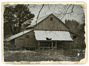 Old Barns Mixed Media Framed Prints - Vintage Sepia Coastal Barn Framed Print by Chalet Roome-Rigdon