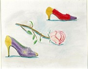 1980s Pastels Prints - Vintage Shoes with Rose Print by Carmela Cattuti