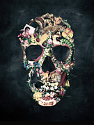 Vintage Digital Art Metal Prints - Vintage Skull Metal Print by Ali Gulec