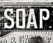 Greyscale Prints - Vintage Soap Crate in Black and White Print by Lisa Russo