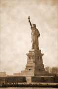 River Greeting Cards Photos - Vintage statue of Liberty by RicardMN Photography