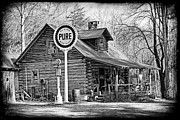 Old Cabins Framed Prints - Vintage Store And Pure Oil Sign BW Framed Print by Kenny Francis