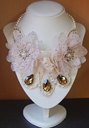 Petals Jewelry - Vintage Style Embroided Necklace With Pink  Cream Flowers and Crystals  by Janine Antulov