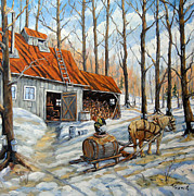 Canadian Landscape Prints - Vintage Sugar Shack by Prankearts Print by Richard T Pranke