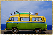 Bus Photo Framed Prints - Vintage Surf Van Framed Print by Diane Diederich