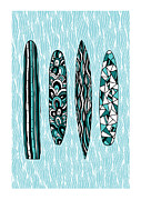 Cyan Digital Art Prints - Vintage Surfboards Part1 Print by Susan Claire
