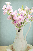 Antiques Mixed Media - Vintage Sweet Peas in a Pitcher by Peggy Collins