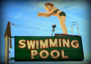 Karyn Robinson Metal Prints - Vintage Swimming Lady Hotel Sign Metal Print by Karyn Robinson
