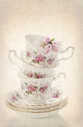 White Gold Posters - Vintage Teacups Poster by Christopher and Amanda Elwell