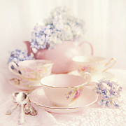 Vintage Teacup Prints - Vintage Teacups Print by Theresa Tahara