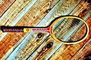 Tennis Racket Framed Prints - Vintage Tennis Framed Print by Benjamin Yeager