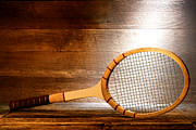 Tennis Framed Prints - Vintage Tennis Racket Framed Print by Olivier Le Queinec