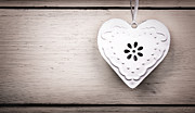 Weathered Prints - Vintage tin heart Print by Jane Rix