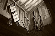 Tan Line Framed Prints - Vintage Tools - sepia Framed Print by Marilyn Wilson