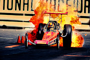 Howard Koby Posters - Vintage Top Fuel Dragster Fire Burnout-Wild Bill Carter Poster by Howard Koby