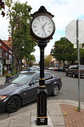 Classic Architecture Prints - Vintage Town Clock In Historic Railroad Square District Santa Rosa California 5D25878 Print by Wingsdomain Art and Photography