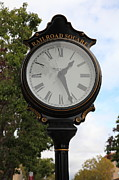 Classic Architecture Prints - Vintage Town Clock In Historic Railroad Square District Santa Rosa California 5D25879 Print by Wingsdomain Art and Photography