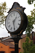 Classic Architecture Prints - Vintage Town Clock In Historic Railroad Square District Santa Rosa California 5D25883 Print by Wingsdomain Art and Photography
