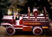 Toy Truck Framed Prints - Vintage Toy Fire Truck Framed Print by Julie Palencia