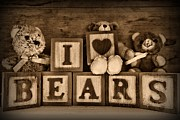 Childs Room Prints - Vintage Toys - I Love Bears in black and white Print by Paul Ward