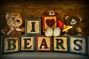 Childs Room Prints - Vintage Toys - I Love Bears Print by Paul Ward