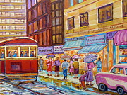 Store Fronts Painting Metal Prints - Vintage Tram Car-montreal Downtown Scene-classic Chevy Car Metal Print by Carole Spandau