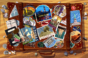 Postcards Metal Prints - Vintage Travel Case Metal Print by Garry Walton