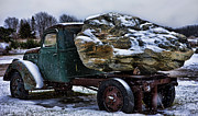 Car Carrier Photos - Vintage Truck and Rock in Michigan by Evie Carrier