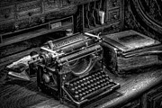 Victorian Digital Art Metal Prints - Vintage Typewriter Metal Print by Adrian Evans