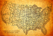 Vintage Map Mixed Media Framed Prints - Vintage United States Highway System Map on Worn Canvas Framed Print by Design Turnpike