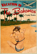 Bahamas Digital Art Framed Prints - Vintage Vacation Ad Framed Print by Cinema Photography