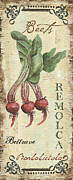 Rustic Painting Prints - Vintage Vegetables 3 Print by Debbie DeWitt