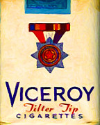 Cartons Posters - Vintage Viceroy Cigarette - Painterly - v2 Poster by Wingsdomain Art and Photography