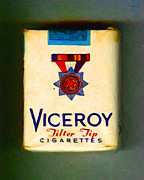 Cigarette Case Framed Prints - Vintage Viceroy Cigarette - Painterly Framed Print by Wingsdomain Art and Photography