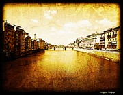 Maggie Vlazny Prints - Vintage View of River Arno Print by Maggie Vlazny