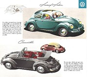 Small Convertible Posters - Vintage Volkswagen Advert 1958 Poster by Nomad Art And  Design