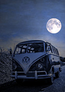 Moonlight Beach Posters - Vintage VW bus parked at the beach under the moonlight Poster by Edward Fielding