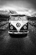 Cold Framed Prints - Vintage VW Camper Framed Print by John Farnan