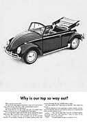 Vintage Car Advert Digital Art - Vintage VW Convertible Advert by Nomad Art And  Design